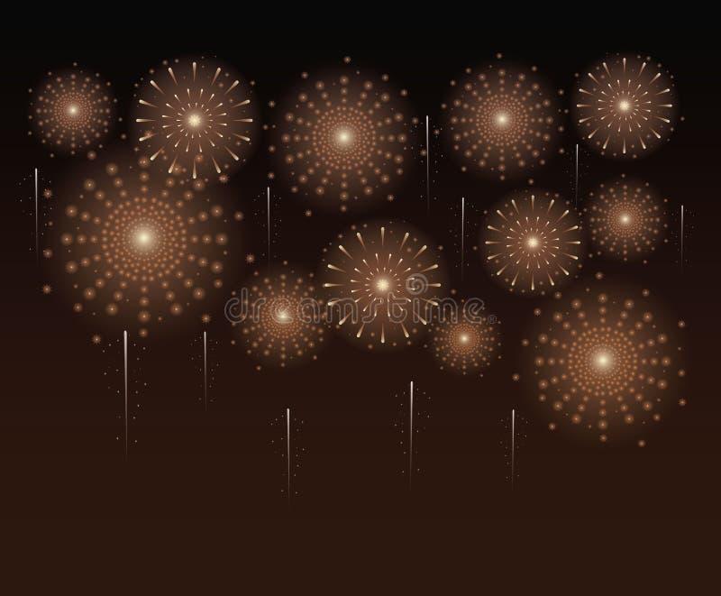 Πυροτεχνήματα και εορτασμός διανυσματική απεικόνιση
