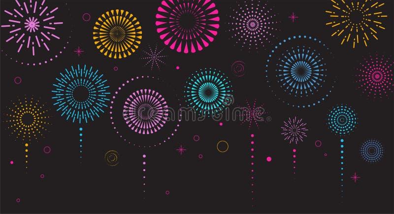 Πυροτεχνήματα και υπόβαθρο εορτασμού, νικητής, αφίσα νίκης ελεύθερη απεικόνιση δικαιώματος