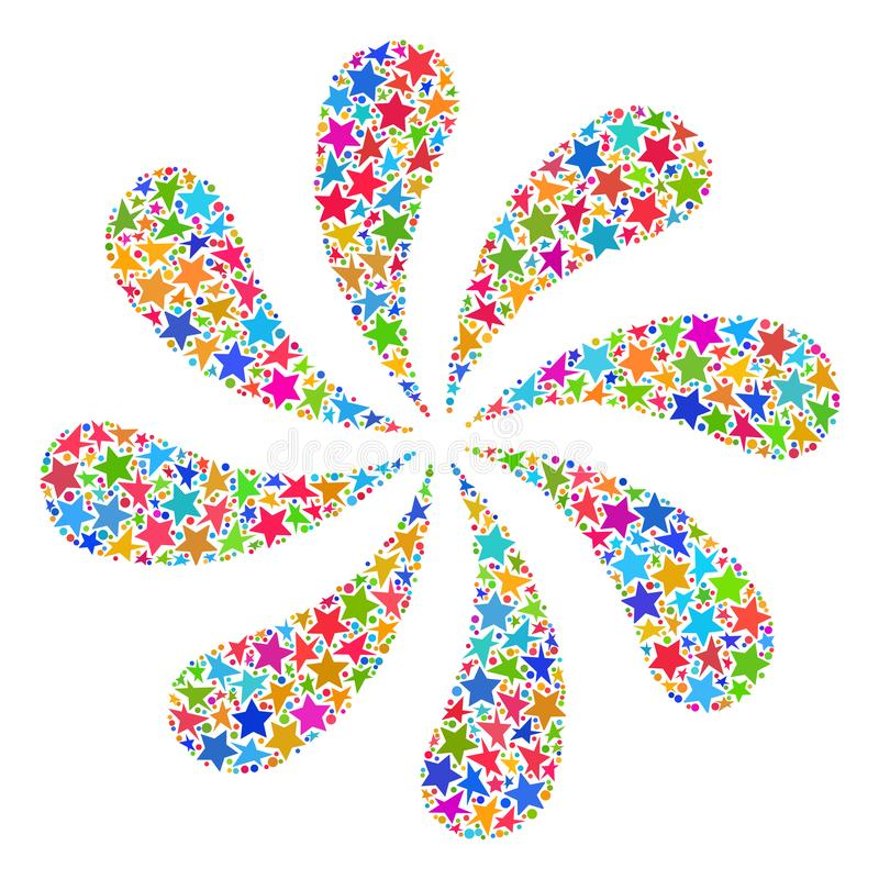 Πυροτεχνήματα λουλουδιών μωσαϊκών αστεριών διανυσματική απεικόνιση
