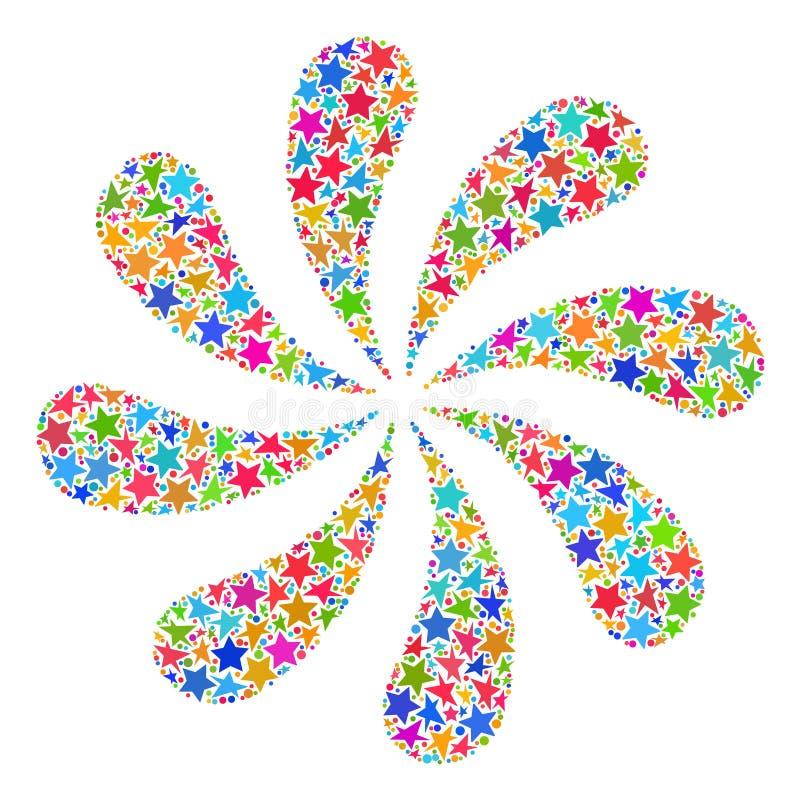 Πυροτεχνήματα λουλουδιών μωσαϊκών αστεριών ελεύθερη απεικόνιση δικαιώματος