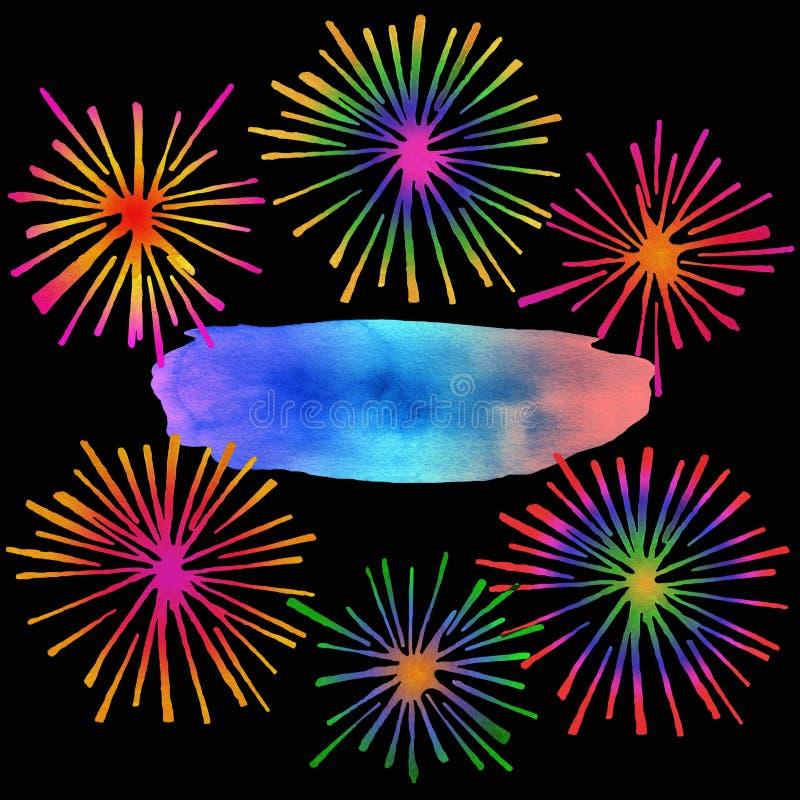 Download Πυροτεχνήματα με τη θέση κειμένων Απεικόνιση αποθεμάτων - εικονογραφία από στοιχείο, νύχτα: 62714387