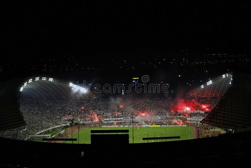 Πυροτεχνήματα οπαδών ποδοσφαίρου Torcida στοκ εικόνες