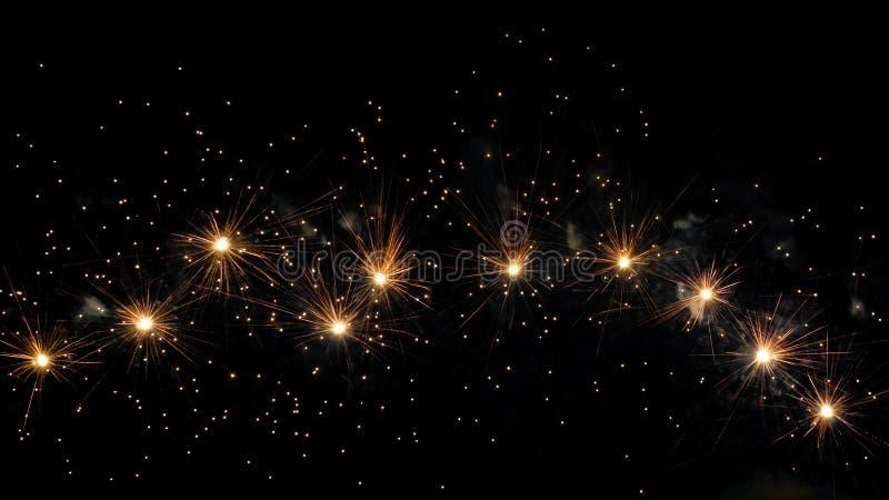 Πυροτεχνήματα πέρα από το μαύρο ουρανό στοκ εικόνες
