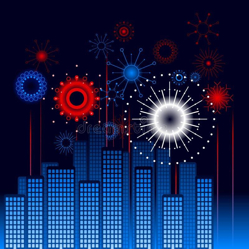 πυροτεχνήματα πόλεων ανα&de ελεύθερη απεικόνιση δικαιώματος