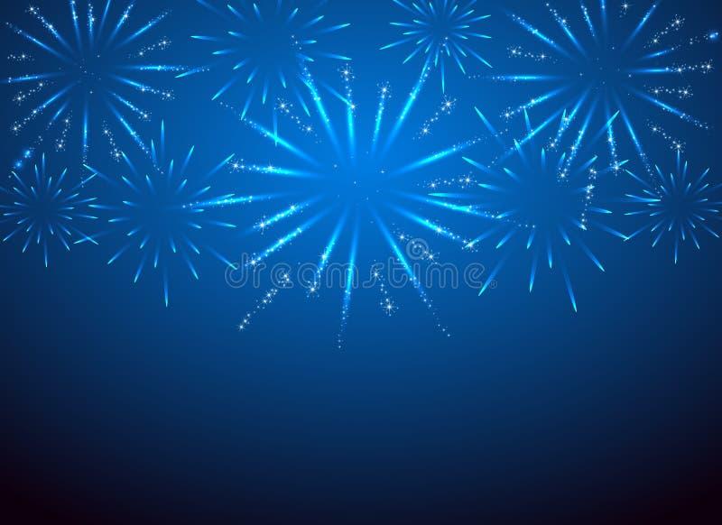 Πυροτεχνήματα σπινθηρίσματος στο μπλε υπόβαθρο απεικόνιση αποθεμάτων