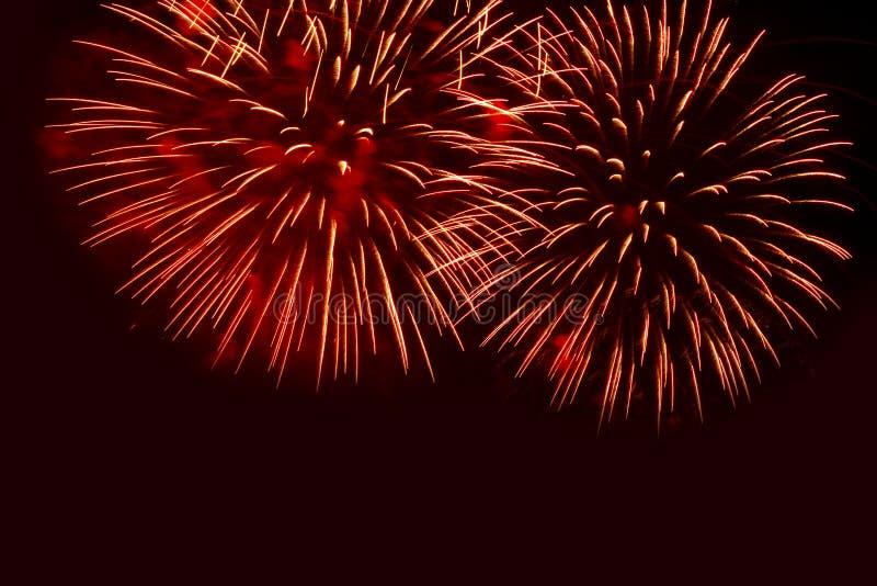 Πυροτεχνήματα στη μαύρη ανασκόπηση ουρανού στοκ φωτογραφία με δικαίωμα ελεύθερης χρήσης