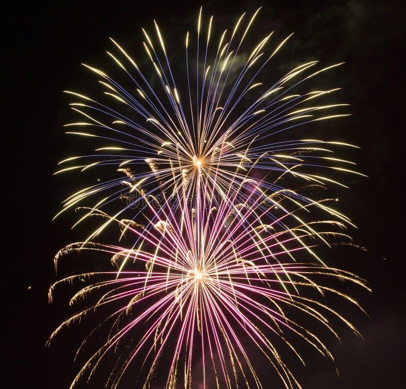 Πυροτεχνήματα τη νύχτα στοκ εικόνες με δικαίωμα ελεύθερης χρήσης