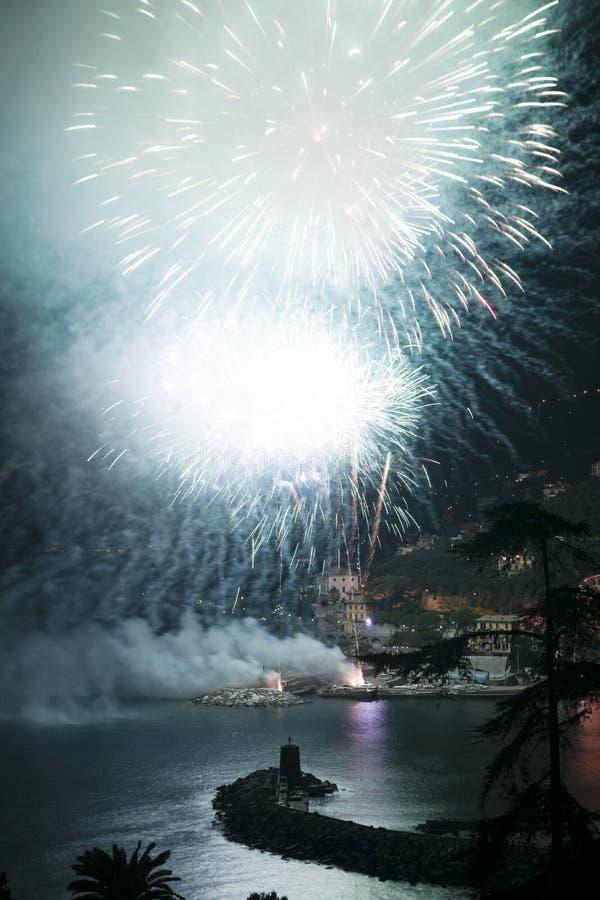 Πυροτεχνήματα Recco Ιταλία στοκ εικόνες