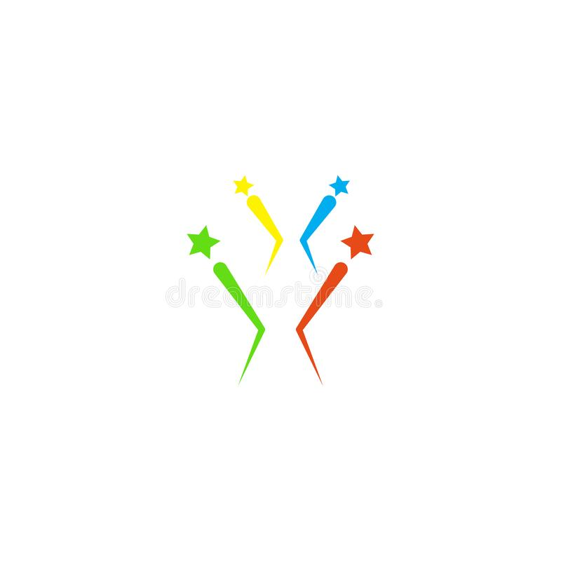 Πυροτεχνημάτων σημάδι και σύμβολο εικονιδίων διανυσματικό που απομονώνονται στο άσπρο υπόβαθρο, έννοια λογότυπων πυροτεχνημάτων ελεύθερη απεικόνιση δικαιώματος
