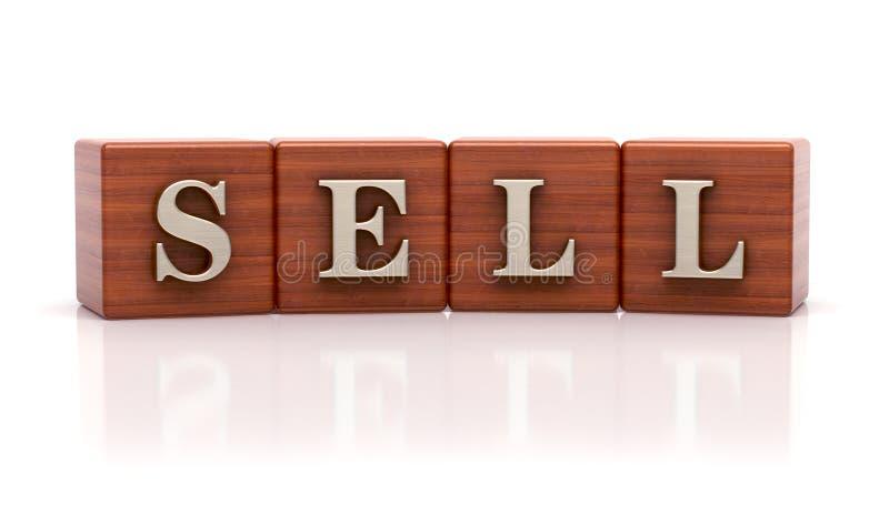 Πωλήστε γραπτός στους ξύλινους κύβους απεικόνιση αποθεμάτων