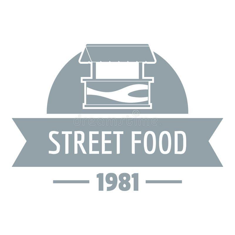 Πωλήστε το λογότυπο τροφίμων οδών, απλό γκρίζο ύφος διανυσματική απεικόνιση