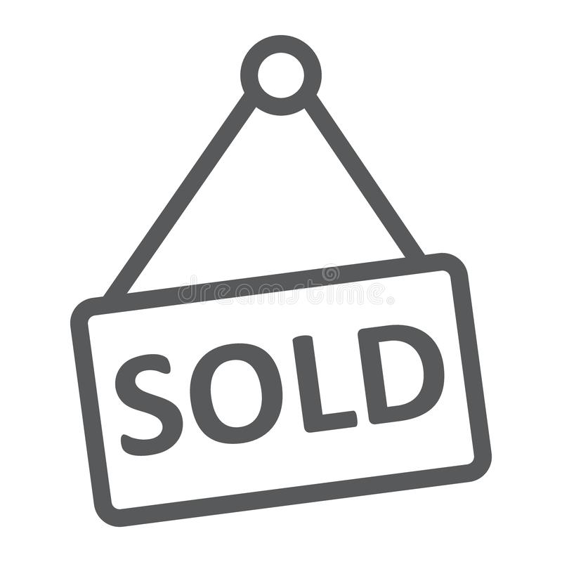 Πωλημένο εικονίδιο γραμμών, ακίνητη περιουσία και σπίτι, σημάδι πώλησης διανυσματική απεικόνιση