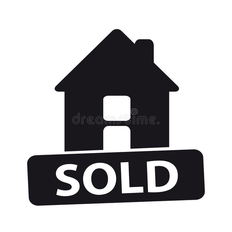 Πωλημένο σπίτι διανυσματικό εικονίδιο - που απομονώνεται στο άσπρο υπόβαθρο ελεύθερη απεικόνιση δικαιώματος