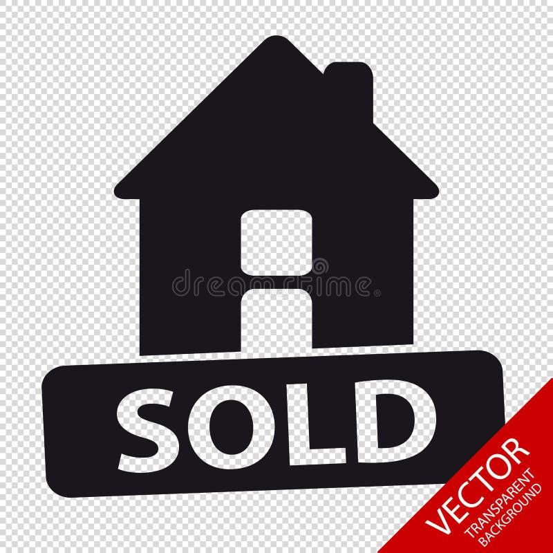 Πωλημένο σπίτι διανυσματικό εικονίδιο - που απομονώνεται στο διαφανές υπόβαθρο ελεύθερη απεικόνιση δικαιώματος