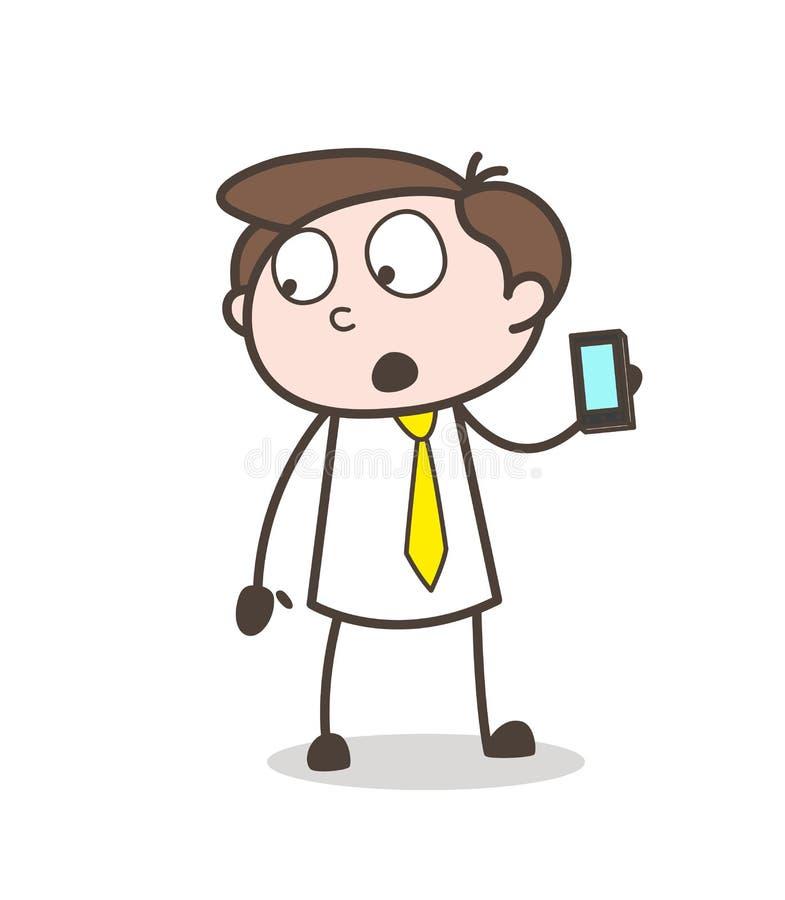 Πωλητής κινούμενων σχεδίων που παρουσιάζει ένα Smartphone και χαρακτηριστικά γνωρίσματά του διανυσματική έννοια διανυσματική απεικόνιση