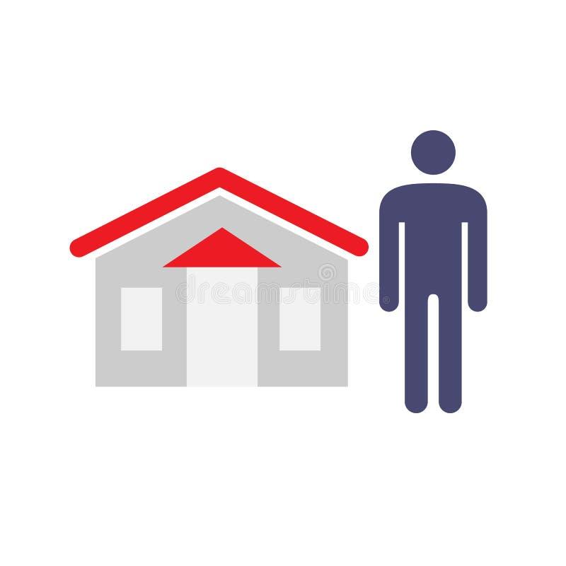 Εικονίδιο ατόμων και σπιτιών Πωλητής σπιτιών, αγοραστής, προμηθευτής, σύμβολα asistant, και έννοιας ιδιοκτητών r ελεύθερη απεικόνιση δικαιώματος