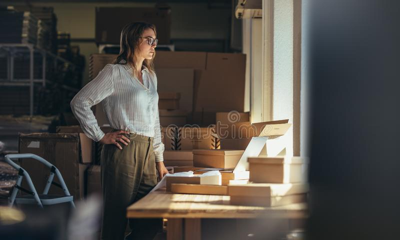 Πωλώντας σε απευθείας σύνδεση ιδιοκτήτης επιχείρησης στο γραφείο στοκ εικόνες