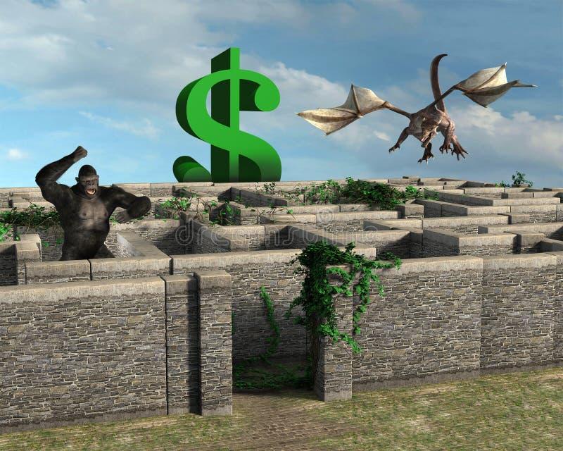 Πωλήσεις λαβυρίνθου ανταμοιβής επιχειρησιακού κινδύνου διανυσματική απεικόνιση