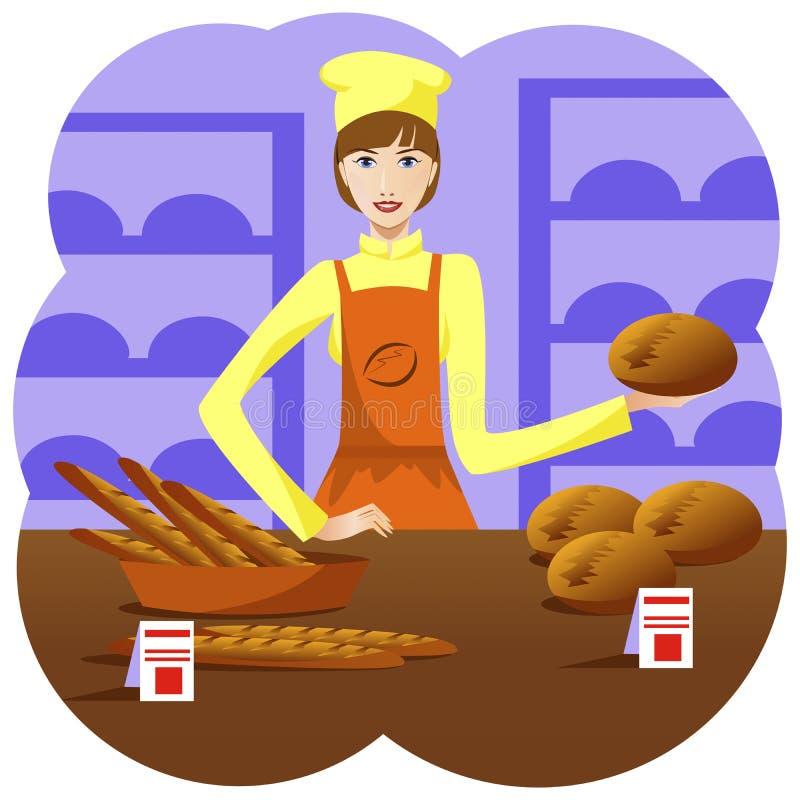 Πωλητής κοριτσιών στο αρτοποιείο διανυσματική απεικόνιση