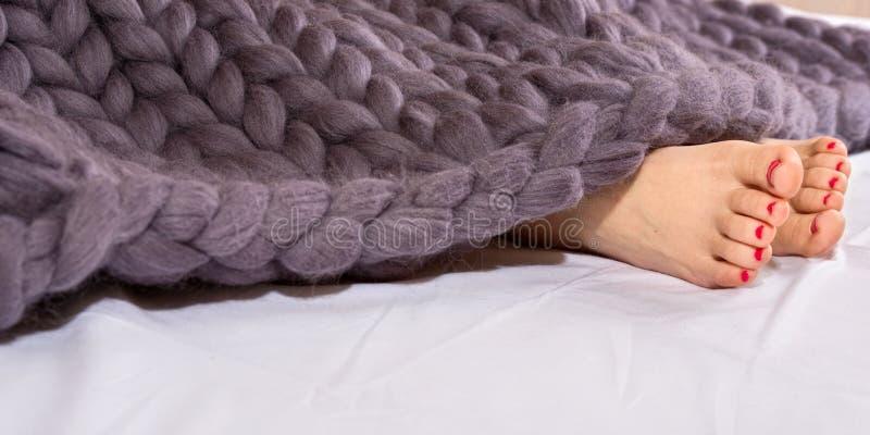 Πόδια γυναικών κάτω από το γκρίζο μερινός μάλλινο καρό Ύπνος κάτω από ένα θερμό πλεκτό κάλυμμα στοκ φωτογραφία με δικαίωμα ελεύθερης χρήσης
