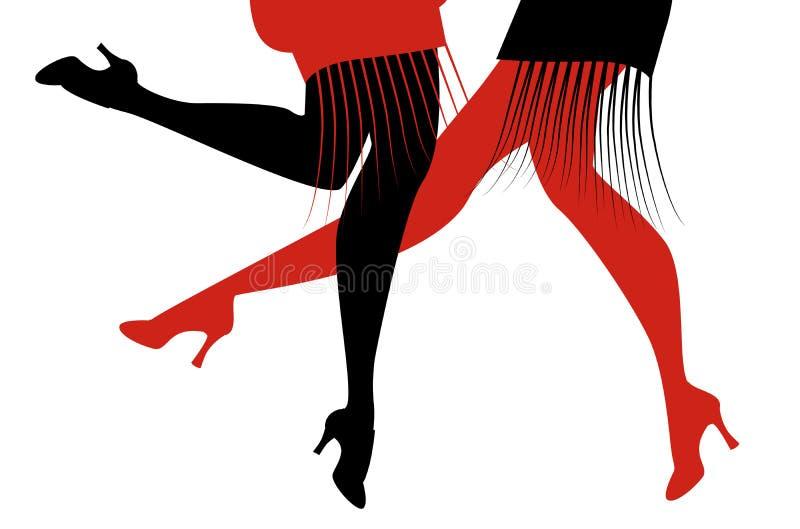 Πόδια δύο κοριτσιών πτερυγίων που φορούν τα αναδρομικά φορέματα χορεύοντας Τσάρλεστον απεικόνιση αποθεμάτων