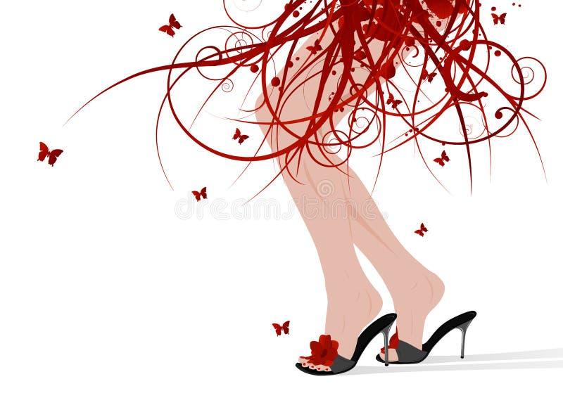 πόδια θηλυκών floral φουστών ελεύθερη απεικόνιση δικαιώματος