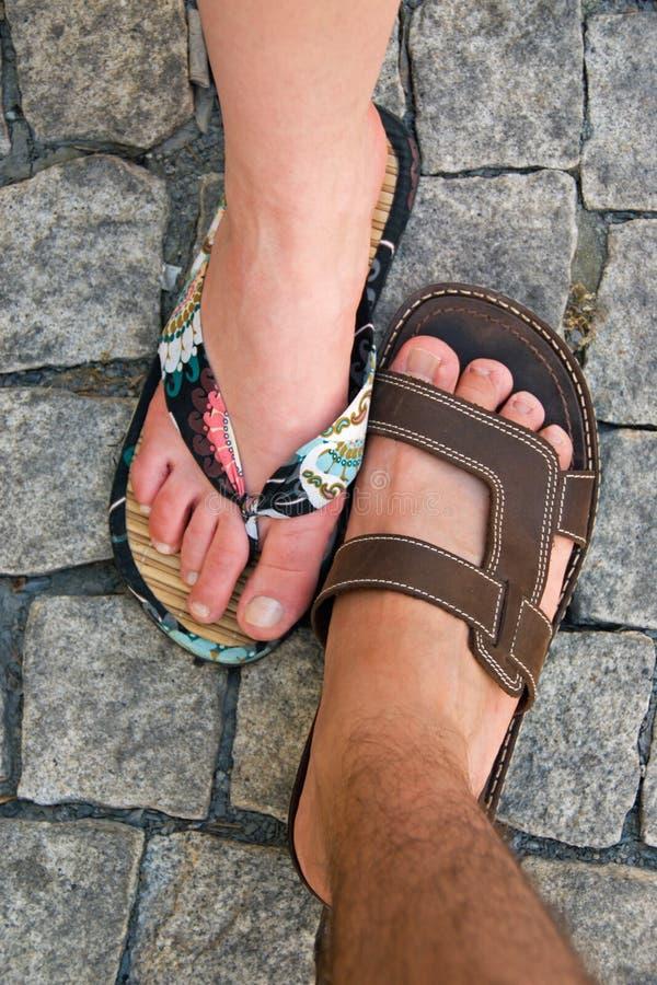 πόδια παντοφλών δύο στοκ φωτογραφία