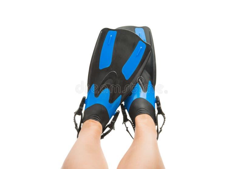 πόδια στα βατραχοπέδιλα που απομονώνονται στοκ φωτογραφία με δικαίωμα ελεύθερης χρήσης