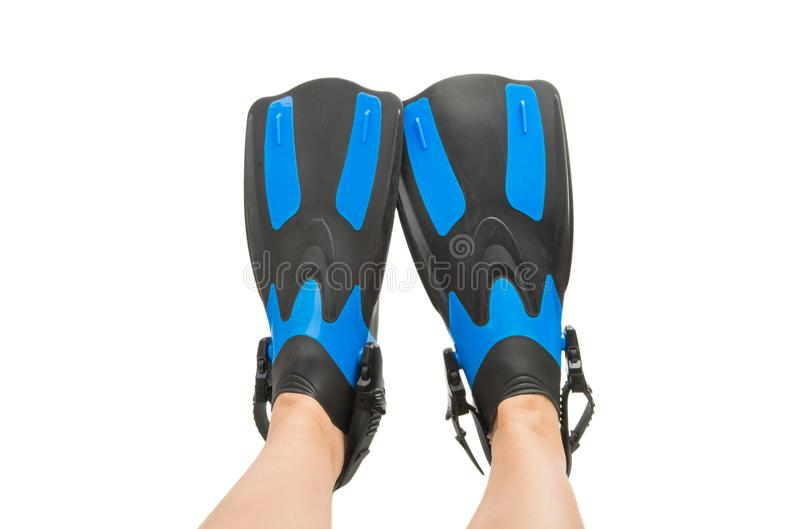 πόδια στα βατραχοπέδιλα που απομονώνονται στοκ εικόνα με δικαίωμα ελεύθερης χρήσης