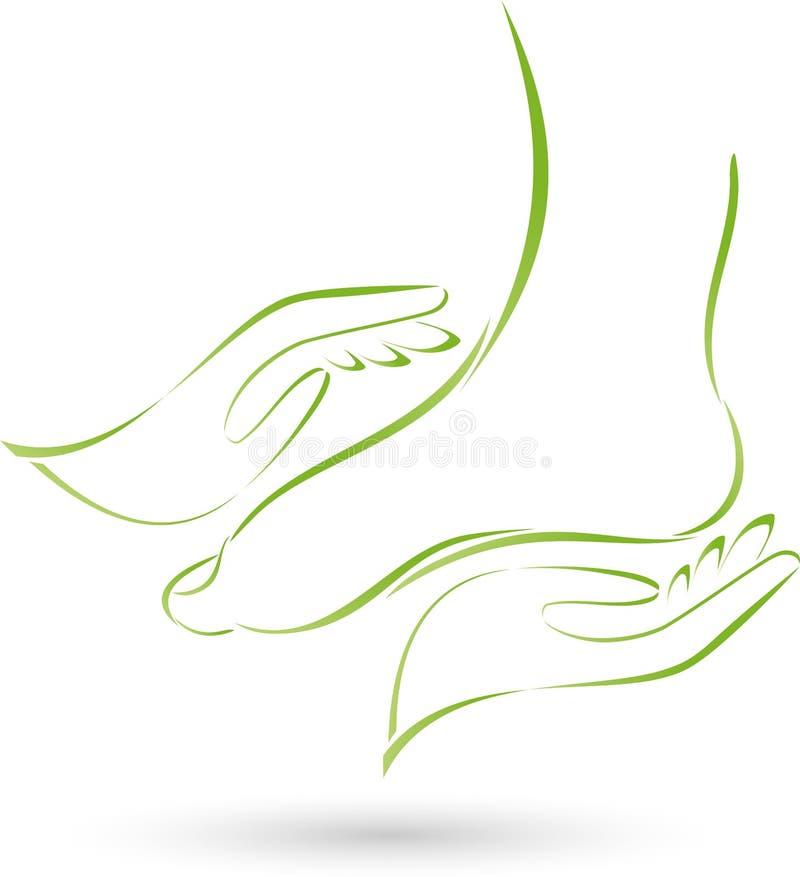 Πόδι και δύο χέρια, μασάζ και λογότυπο προσοχής ποδιών ελεύθερη απεικόνιση δικαιώματος