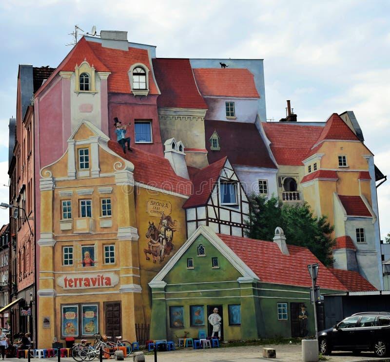 Πόζναν-Πολωνία Όμορφη και ζωηρόχρωμη τοιχογραφία σε τρισδιάστατο στοκ εικόνα με δικαίωμα ελεύθερης χρήσης