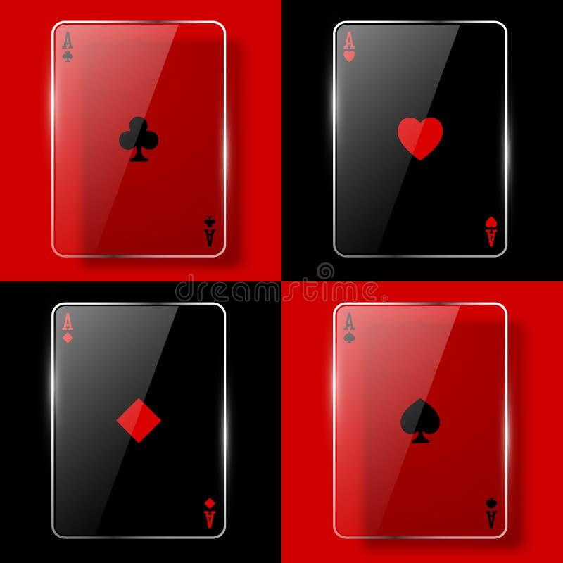 πόκερ γυαλιού άσσων διανυσματική απεικόνιση
