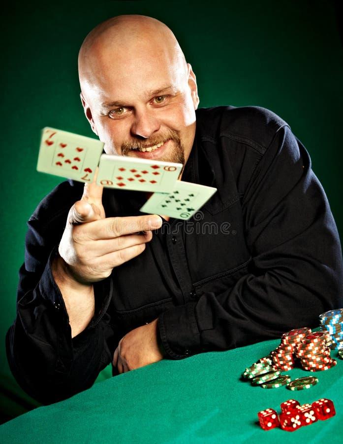 πόκερ παιχνιδιών ατόμων γενειάδων στοκ εικόνα με δικαίωμα ελεύθερης χρήσης