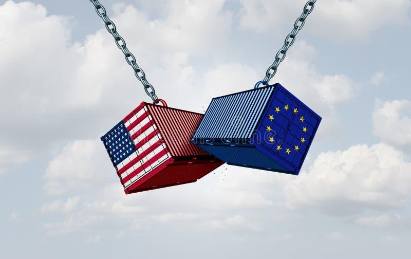 Πόλεμος δασμολογίων της Ευρώπης Ηνωμένες Πολιτείες απεικόνιση αποθεμάτων