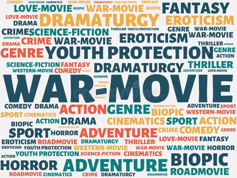 Πόλεμος-ΚΙΝΗΜΑΤΟΓΡΑΦΟΣ - εικόνα με τις λέξεις που συνδέονται με τον ΚΙΝΗΜΑΤΟΓΡΑΦΟ θέματος, λέξη, εικόνα, απεικόνιση διανυσματική απεικόνιση