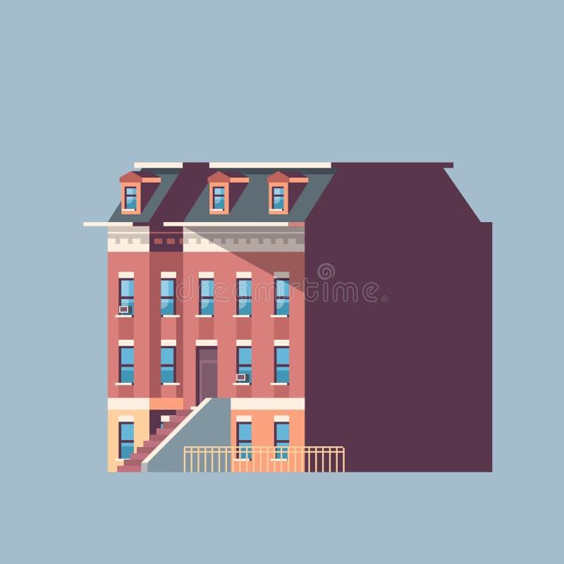 Πόλεων οικοδόμησης γκρίζο απομονωμένο υπόβαθρο επίπεδο σχεδίου αρχιτεκτονικής έννοιας ακίνητων περιουσιών σπιτιών αστικό διανυσματική απεικόνιση