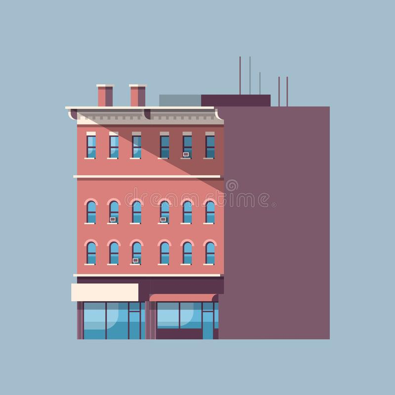 Πόλεων οικοδόμησης γκρίζο απομονωμένο υπόβαθρο επίπεδο σχεδίου αρχιτεκτονικής έννοιας ακίνητων περιουσιών σπιτιών αστικό ελεύθερη απεικόνιση δικαιώματος