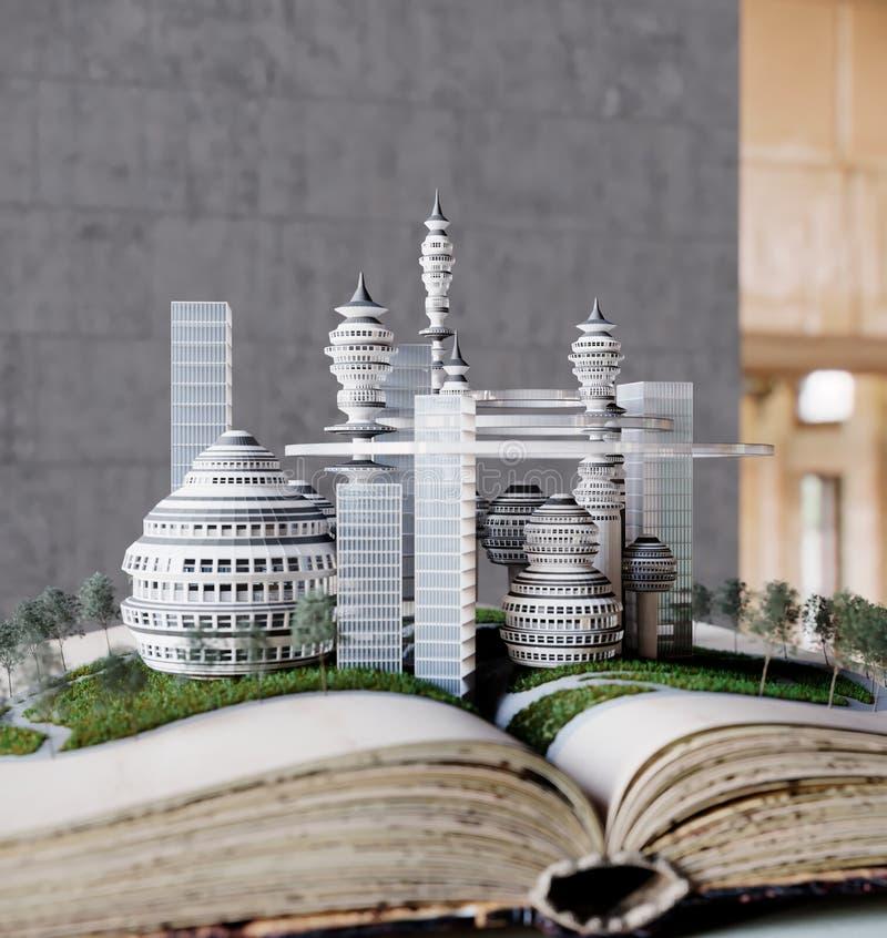 Πόλης ανάπτυξη από την παλαιά σύνθεση κατασκευής έννοιας βιβλίων στοκ εικόνα