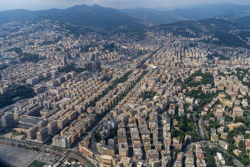 Πόλης εναέρια άποψη της Γένοβας στοκ φωτογραφία