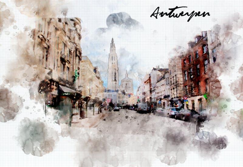 Πόλης ζωή στο ύφος watercolor διανυσματική απεικόνιση