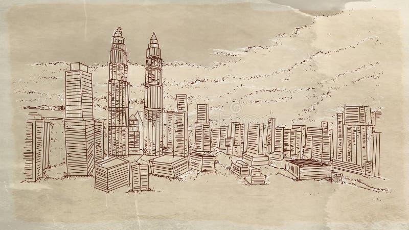 Πόλη †‹â€ ‹με τους ουρανοξύστες ελεύθερη απεικόνιση δικαιώματος