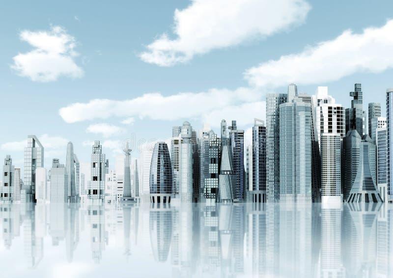 πόλη ανασκόπησης φουτουριστική ελεύθερη απεικόνιση δικαιώματος