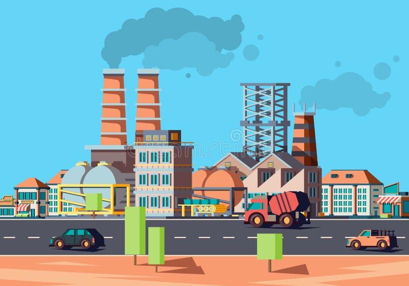Πόλη βιομηχανίας Κτήρια εργοστασίων στην αστική επίπεδη διανυσματική πρόσοψη τοπίων των σπιτιών απεικόνιση αποθεμάτων