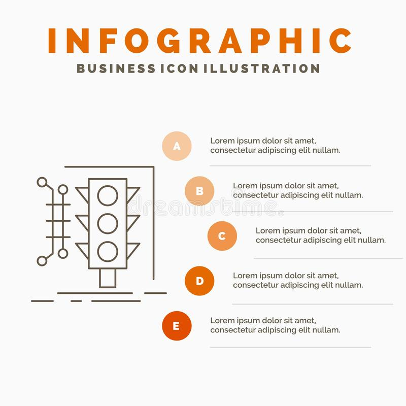 Πόλη, διαχείριση, έλεγχος, έξυπνο, πρότυπο Infographics κυκλοφορίας για τον ιστοχώρο και παρουσίαση Γκρίζο εικονίδιο γραμμών με τ ελεύθερη απεικόνιση δικαιώματος