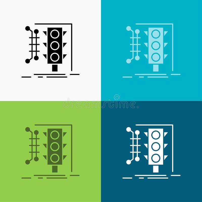 Πόλη, διαχείριση, που ελέγχει, έξυπνος, εικονίδιο κυκλοφορίας πέρα από το διάφορο υπόβαθρο glyph σχέδιο ύφους, που σχεδιάζεται γι ελεύθερη απεικόνιση δικαιώματος