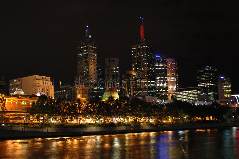 πόλη ΙΙ νύχτα της Μελβούρνης στοκ φωτογραφίες