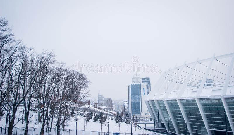 Πόλη Κίεβο Ουκρανία Olimpiysk αρχιτεκτονικής στοκ εικόνες με δικαίωμα ελεύθερης χρήσης