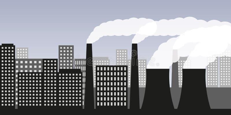 Πόλη και βιομηχανία με την αιθαλομίχλη βιομηχανίας ατμοσφαιρικής ρύπανσης και την επιβλαβή εκπομπή καυσαερίων απεικόνιση αποθεμάτων