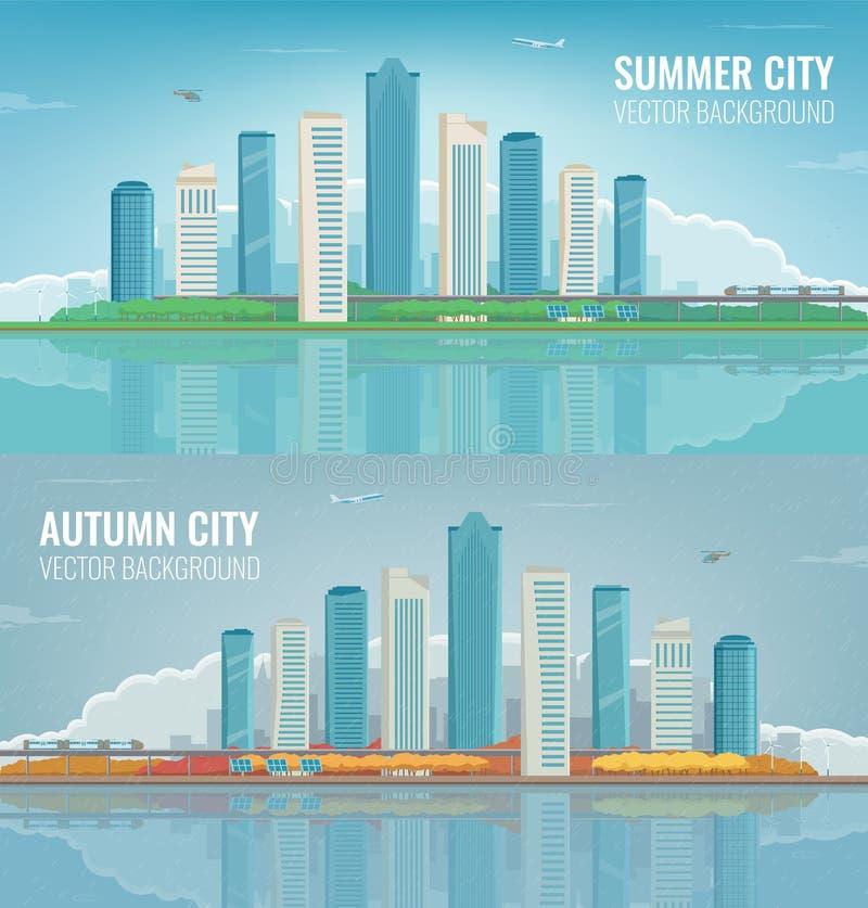 Πόλη καλοκαιριού και φθινοπώρου Αστικά εμβλήματα τοπίων Κτήρια και αρχιτεκτονική διάνυσμα απεικόνιση αποθεμάτων