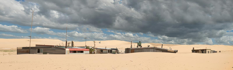 Πόλη κασσίτερου που χρησιμοποιείται για τα μέρη μαγνητοσκόπησης του τρελλού ανώτατου κινηματογράφου στοκ εικόνες